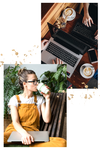 working woman drinking coffee at a laptop